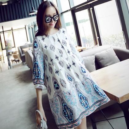 Maternity Clothing Dress Loose Female Pregnancy Wear Linen Retro Style Cotton