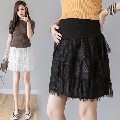 Maternity Clothing Skirts Women Pregnancy Wear Stomach Lift Cotton Lace Summer