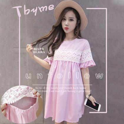 Maternity Clothing Nursing Wear Doll Dress Plaid Lace Summer Outwear Postpartum