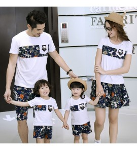 Parent Child Clothing Summer Outfits Family of Three Short Sleeve Cotton Print