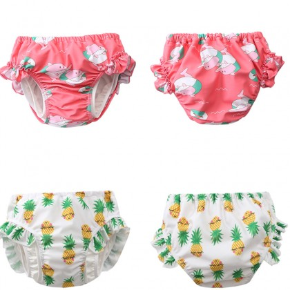 Baby Clothing Swimwear Female  Anti Leak Proof Girl Nylon Swimming Trunks Attire