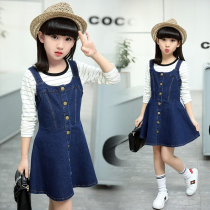 Kids Clothing Dress Set Denim Style Girls Summer Outfits Spring Attire New