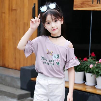 Kids Clothing Tops Girls Female Short Sleeve Cotton Summer Spring Floral T-Shirt