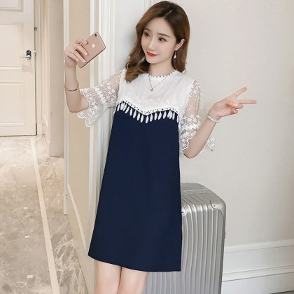 Women Lace Short Sleeve Dinner Chiffon Breastfeeding Maternity Dress