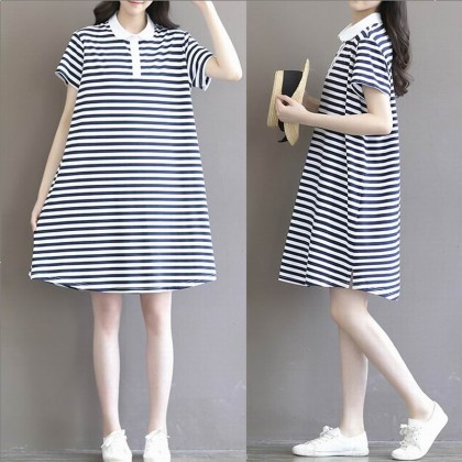 Maternity Clothing Dress Long Loose Cotton Short Sleeved Striped Style Outfits