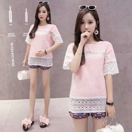 3a5ee2bd25398 Maternity Clothing Tops Lace Loose Short Sleeved Pregnancy Blouse Summer  Shirts