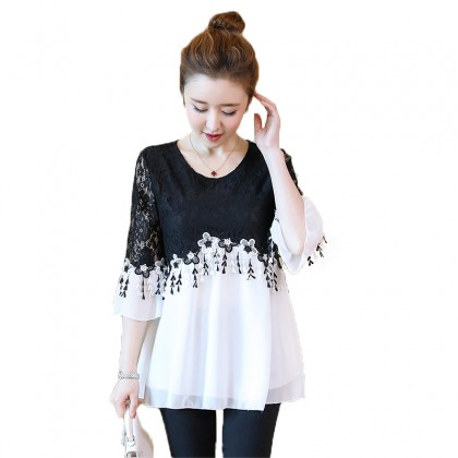 Maternity Clothing Tops Pregnant Women Chiffon Blouse Lace Sleeve Doll New Shirt