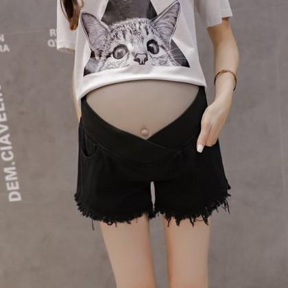 Maternity Clothing Shorts Pregnant Women New Denim Tattered Summer Stomach Lift