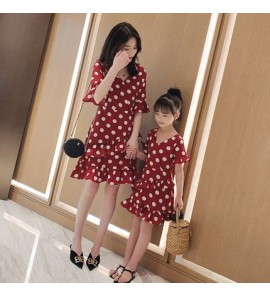 Parent Child Clothing Summer And Spring Outwear V- Neck Chiffon Wave Dress Style