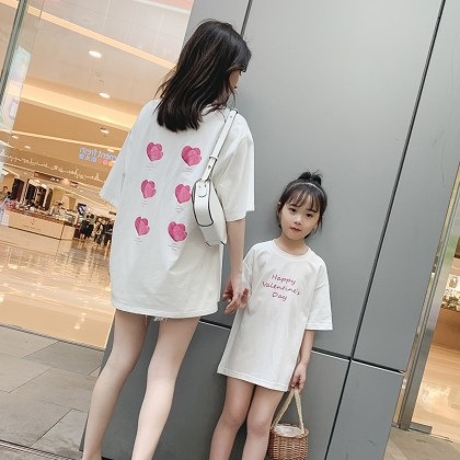 Parent Child Clothing Loose Cotton Short Sleeved T- Shirts Summer Outfits Wear
