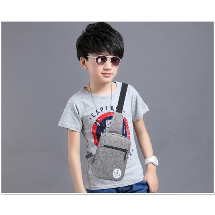 Kids Bags Boys Shoulder Canvas Sling Chest Style Messenger Shoulder Cute Canvas