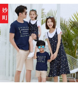Parent Child Clothing Summer Floral Style Dress Cotton Clothes Family of Three
