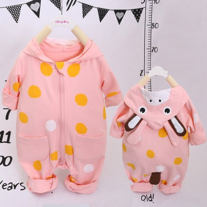 Baby Clothing Winter Wear Newborn Thick Clothes Jumpsuit Cotton Hooded Cute Wear