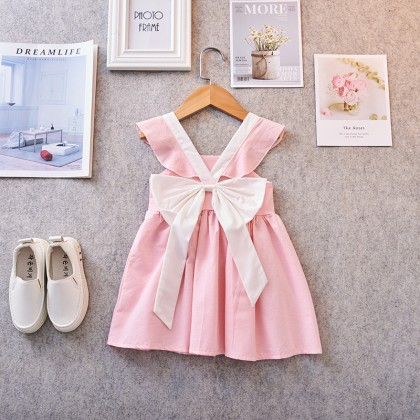 Kids Clothing Girls Set Doll Dress Cotton Ruffles with Bow Summer Casual Female