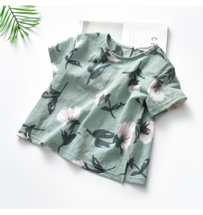 Kids Clothing Girls Tops Floral Print Short Sleeved Cotton Round Neck Outfits