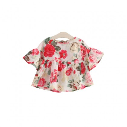 Kids Clothing Girls Tops Floral Print Loose Baby Doll Cotton Female Cute Outfits