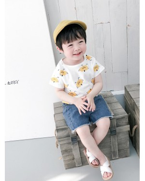 Kids Clothing Boys Tops Cotton Short Sleeved Cotton T-Shirts Summer New Outwear