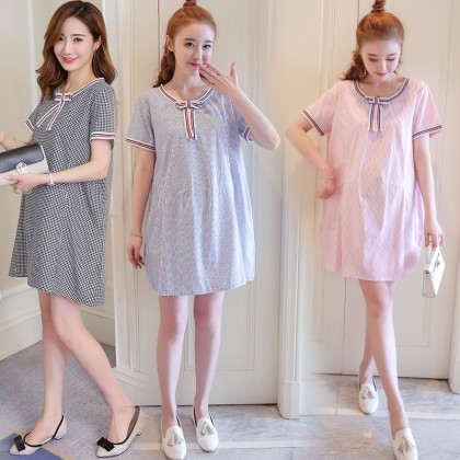 Maternity Clothing Dress Pregnancy Wear Loose Stripes Cotton With Bow Outfits