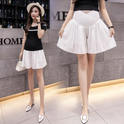 Maternity Clothing Shorts Soft Cotton Stomach Lift Pleated Summer Pregnancy Wear