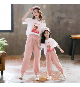 Parent Child Clothing Wear Mother  Daughter Cotton Summer Shirts Pants Outwear