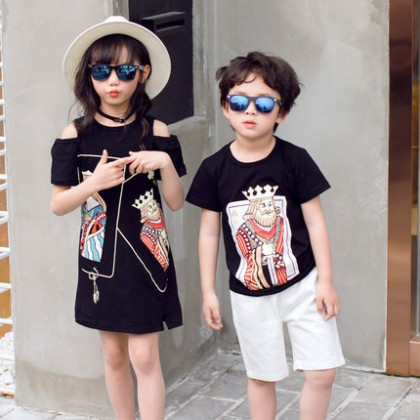 Parent Child Clothing Wear Family of Three Cotton Black Summer Shirt Dress Outwear