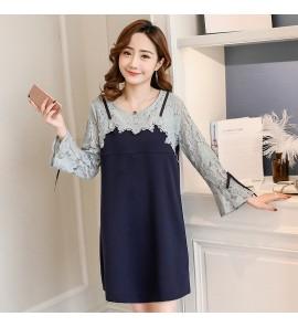 Women Dark Blue Lace Long Sleeve Ribbon Breastfeeding Maternity Dress