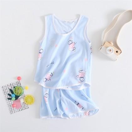 Kids Clothing Boys Sleepwear Sort Cotton Sleeveless Set Summer Tide Night Wear