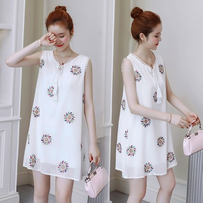 Maternity Clothing Dress Pregnant  Loose Sleeveless Cotton Embroidered Floral