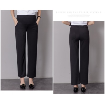 Maternity Clothing Pants Stomach Lift Plain Trousers Cotton Casual Women Outwear