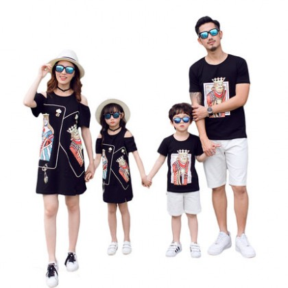 Parent Child Clothing Family of Three Cotton Black Summer Shirt And Dress Outfit