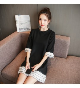 Women Office Working Black Pure Color Lace Maternity Dress