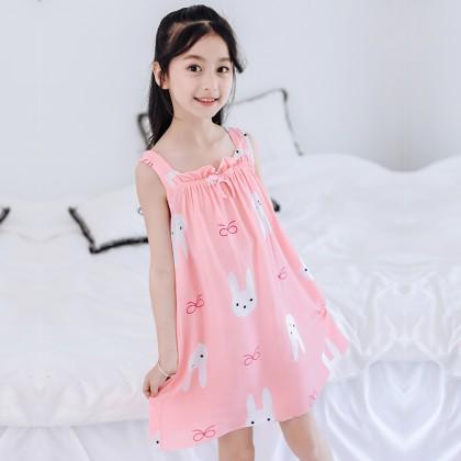 Kids Clothing Sleepwear Soft Cotton Girls Cartoon Style Dress Cute Children Wear