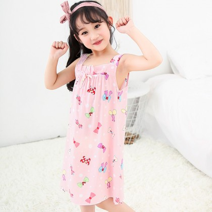 Kids Clothing Sleepwear Cotton Girls Thin Strap Cute Night Dress Children's Wear