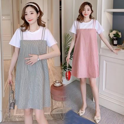 Maternity Clothing Dress Cotton Short Sleeved Cute Pregnancy Women Outwear