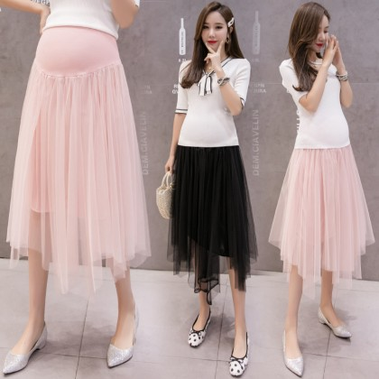 Maternity Clothing Skirts Mesh Long Summer Wear Pregnant Women Stomach Lift