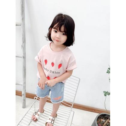 Kids Clothing Girls Tops Cotton Summer Short Sleeved Printed Children T- Shirts