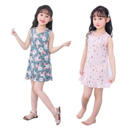 Kids Clothing Girls Sleepwear Dress Soft Cotton Sleeveless Cartoon Style