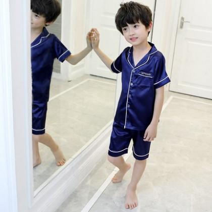 Kids Clothing Boys Sleepwear Soft Silk Set Blouse and Shirt Children Night Wear