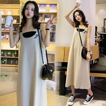 Maternity Clothing Dress Set Loose Cotton Long Pregnancy Postpartum Sleeveless