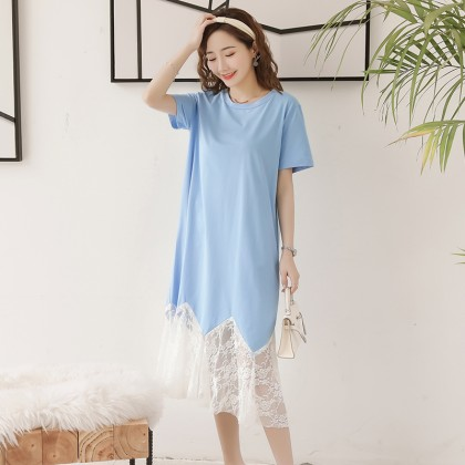 Maternity Clothing Dress Lace Soft Cotton Summer Short Sleeved Pregnant Women