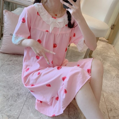 Maternity Clothing Sleepwear Soft Cotton Short Sleeved Long Dress Pregnant Women