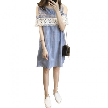Maternity Clothing Nursing Wear Mom Postpartum Off Shoulder Stripes Dress Outfit