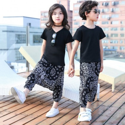 Parent Child Clothing Family of Three Summer Spring Clothes Cotton Pants Outwear
