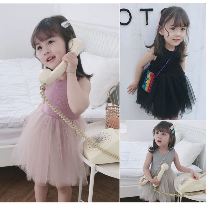 Kids Clothing Girls Dress Set Wear Mesh Children's Cute  Casual Cotton Outfits