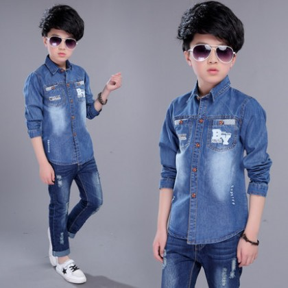 Kids Clothing Boys Tops Children's Soft Denim Polo Shirt Casual Outwear