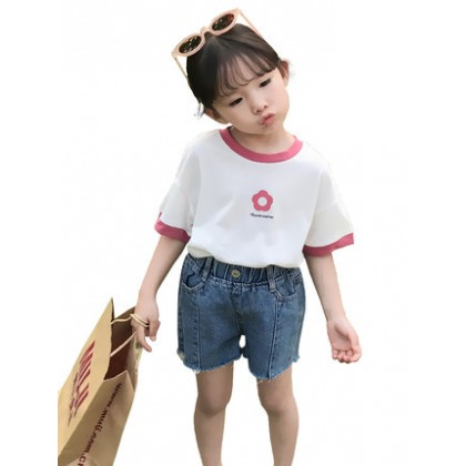Kids Clothing Girls Tops Round Neck Soft Cotton Short Sleeve Floral Design Shirt