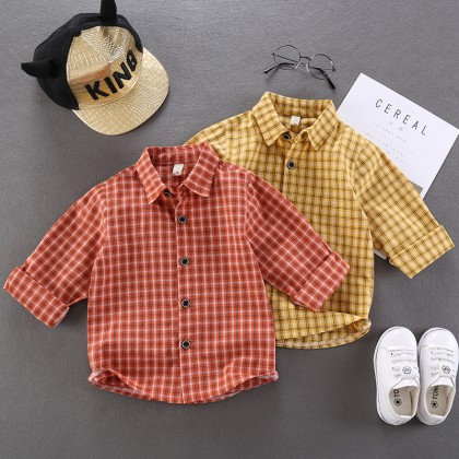 Kids Clothing Boys Tops Children's Cotton Polo Shirts Checkered Children Casual