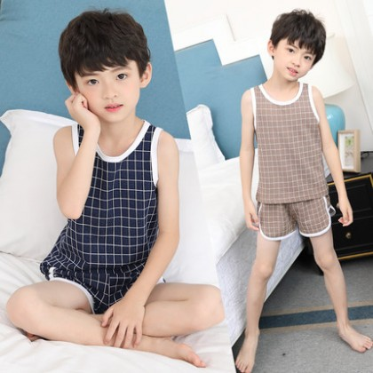 Kids Clothing Boys Sleepwear Male Set Short Sleeveless Soft Cotton Night Wear