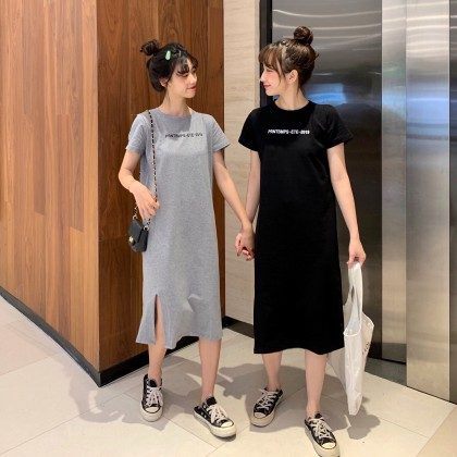 Maternity Clothing Dress Pregnancy Long Summer With Slit Cotton Casual Outwear
