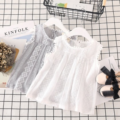 Kids Clothing Tops Lace Sleeveless Children's Girls Shirt Summer Spring Outwear